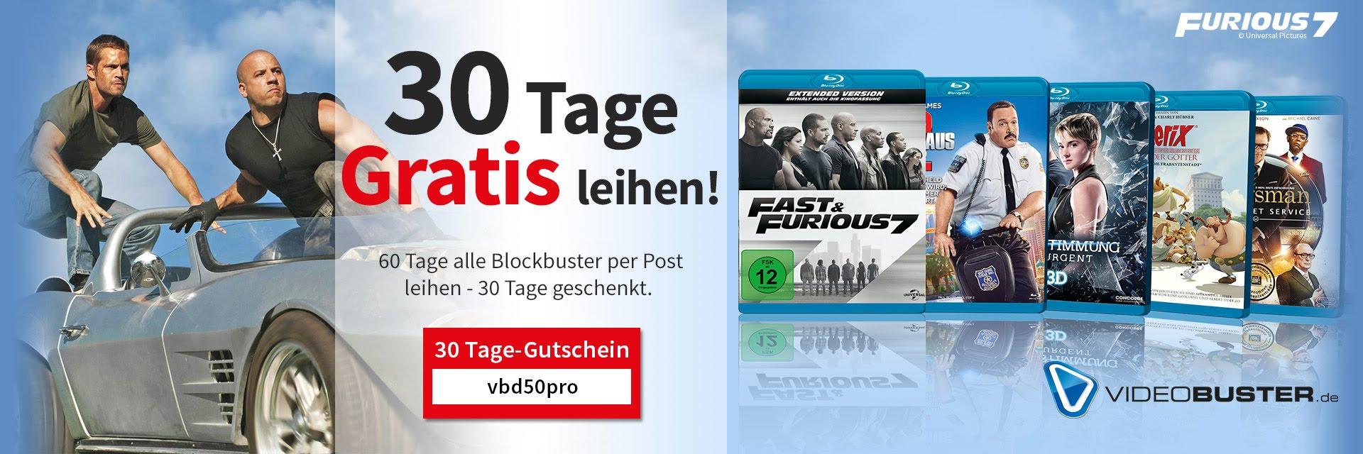 Videobuster 30 Tage gratis leihen!